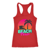 "Image of teelaunch T-shirt Racerback Tank / Red / XS ""BEACH PLEASE"" PREMIUM RACERS TANK-TOP"