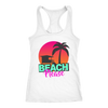 "Image of teelaunch T-shirt Racerback Tank / White / XS ""BEACH PLEASE"" PREMIUM RACERS TANK-TOP"