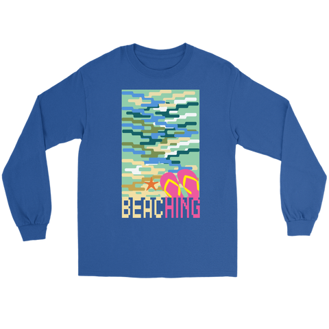 "teelaunch T-shirt Long Sleeve Tee / Blue / S ""BEACHING"" PREMIUM T-SHIRT"