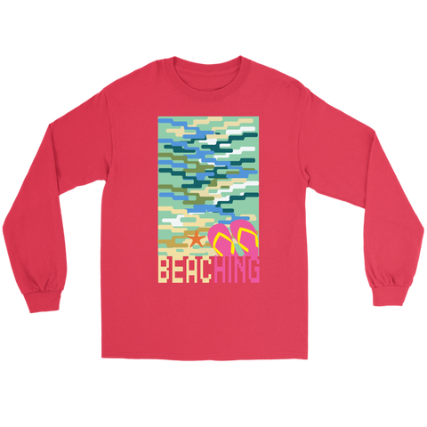 "teelaunch T-shirt Long Sleeve Tee / Red / S ""BEACHING"" PREMIUM T-SHIRT"