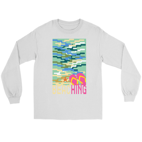 "teelaunch T-shirt Long Sleeve Tee / White / S ""BEACHING"" PREMIUM T-SHIRT"