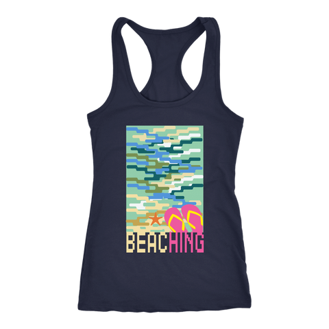 "teelaunch T-shirt Racerback Tank / Navy / XS ""BEACHING"" PREMIUM T-SHIRT"