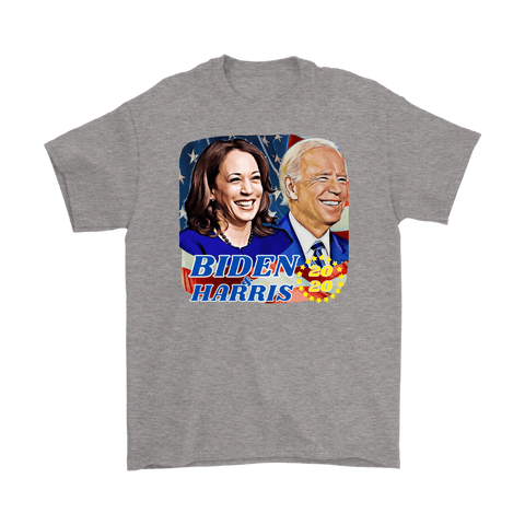 teelaunch T-shirt Gildan Mens T-Shirt / Sport Grey / S Biden and Harris 2020 Graphic Novelty T-Shirt