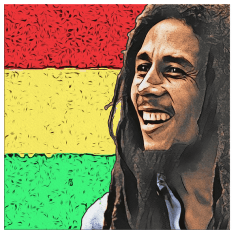 teelaunch Canvas Wall Art 3 8 x 8 Bob Marley Canvas Print Wall Art