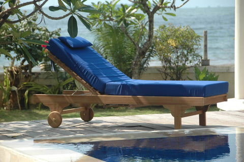 Anderson Teak Chaise / Sun Lounger Capri Sun Lounger Adjusted Back & Side Tray