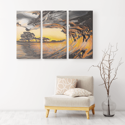 teelaunch Canvas Wall Art Set 3 Catch The Wave - Canvas Print Wall Art Set