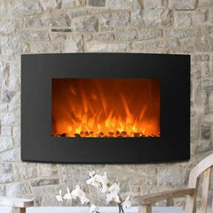 FastFurnishings Accents > Electric Fireplaces Curved Wall Mount 35-inch Electric Fireplace Heater