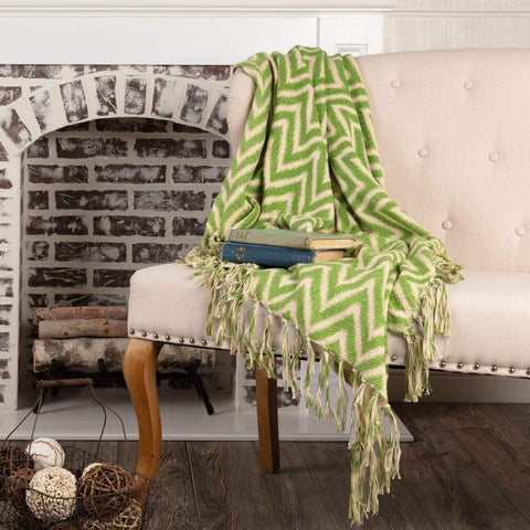 VHC Blankets GREEN CHEVRON WOVEN THROW 60X50
