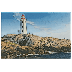teelaunch Canvas Wall Art 3 8 x 12 Lighthouse On The Coast