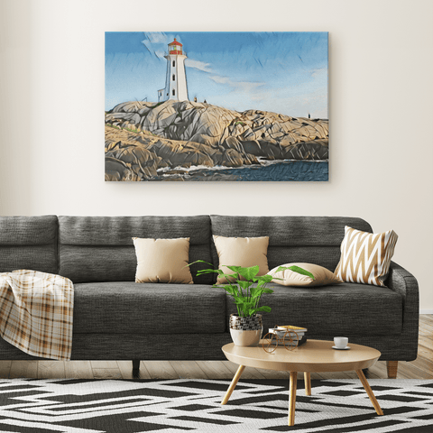 teelaunch Canvas Wall Art 3 Lighthouse On The Coast