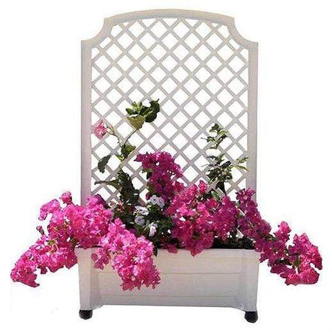 FastFurnishings Outdoor > Gardening > Planters Mobile Planter Box with Trellis in White Plastic with Lockable Wheels