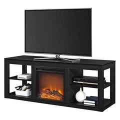 FastFurnishings Accents > Electric Fireplaces Modern 2-in-1 Electric Fireplace TV Stand in Black