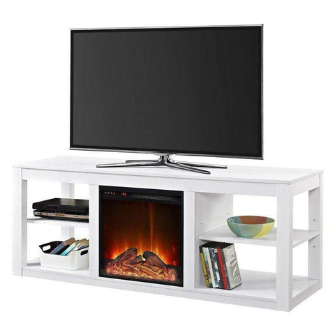FastFurnishings Accents > Electric Fireplaces Modern 2-in-1 Electric Fireplace TV Stand in White