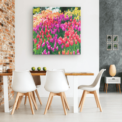 Tulips in Full Bloom Portrait - Canvas Wall Art