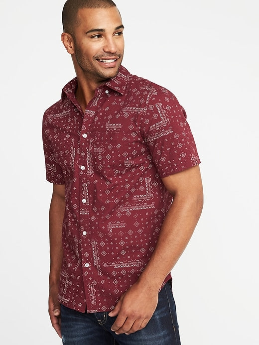 Slim-Fit Built-In Flex Printed Everyday Shirt