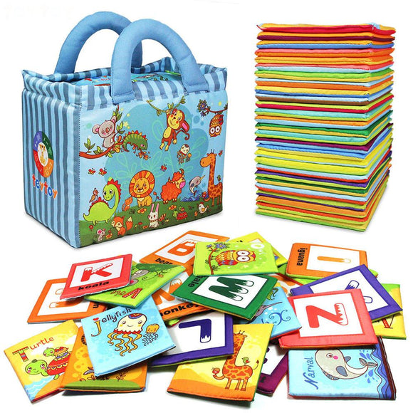 26pcs Soft Alphabet Cards with Cloth Bag for 0-3