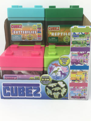 Cubez  There are 6 types of cubez to choose from and each cube contains 18 pieces (6 of the 18 peices glow in the dark). The Cubez are stackable cases. Collect them all!  Bugs Fairies Horses Butterflies Dinosaurs Reptiles