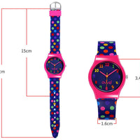 Watches for kids - Colorful Polka Dot dimensions
