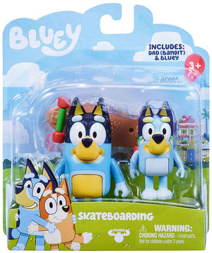 Bluey Skateboarding: Bluey & Dad Figure 2-Pack