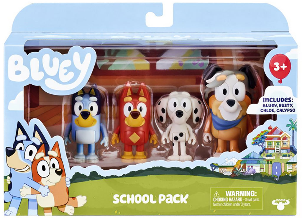 Bluey School Pack Mini Figure 4-Pack - Bluey, Rusty, Chloe & Calypso
