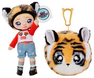 Fashion Doll Na Na Na Surprise 2-in-1 CJ Snuggles with Zippered Plush Tiger POM