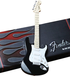 Fender™ Strat™ Classic Black Miniature AXE Guitar Replica - Officially Licensed Collectible (FS-002) on the box