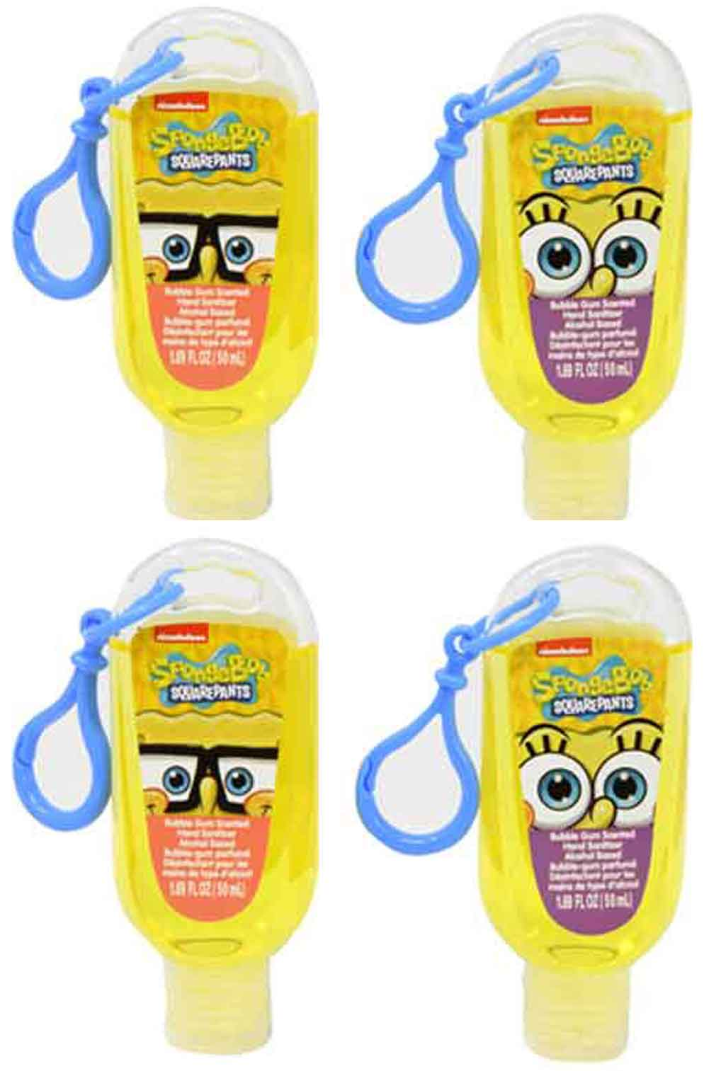Bubble Gum Scented antibacterial Hand Sanitizer - SpongeBob SquarePants set of 4