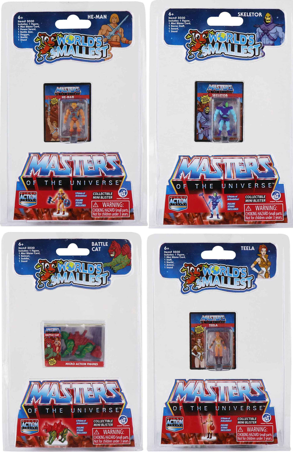 World's Smallest Masters of the Universe Micro Action Figures (Bundle of 4)