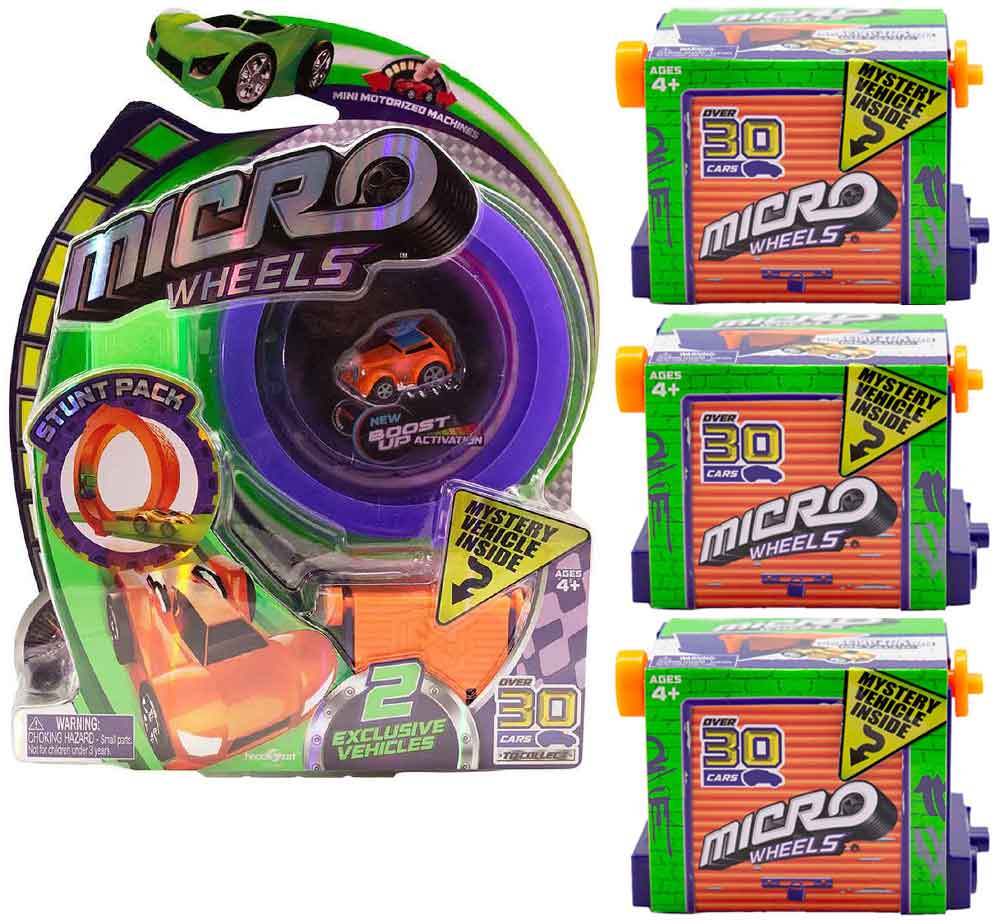 Micro Wheels Stunt Pack plus 3 additional mystery vehicle (Random Colors)