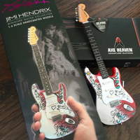 Jimi Hendrix Miniature Fender™ Strat™ Monterey Guitar Model - Officially Licensed Collectible (JH-801) on the box