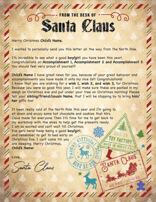 Santa Letter From the Desk - 1A (Free Shipping)