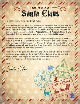 Santa Letter From the Desk - 1B (Free Shipping)