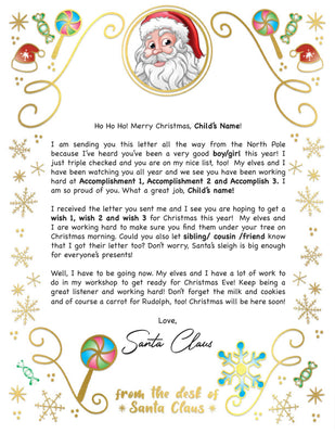 Santa Letter Golden Candy - 2B (Free Shipping)