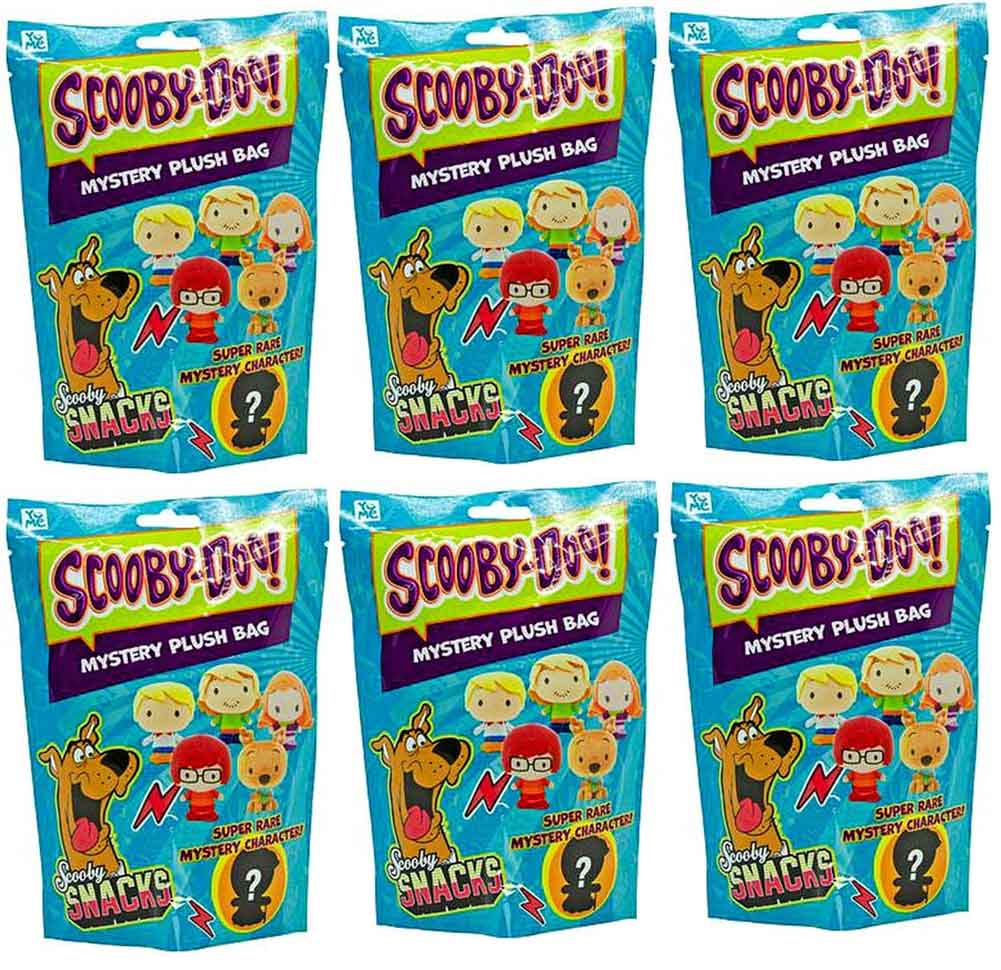 Scooby Doo Key Ring Clip-On Mystery Plush Bag (Bundle of 6)
