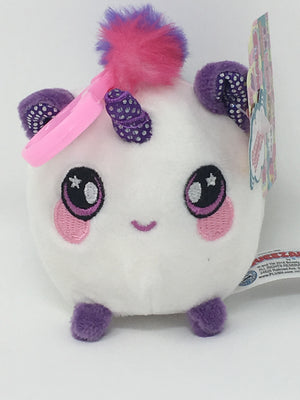 Squishamals / Squeezamals - Unicorn with Purple Sparkle Horn  (Clip On - 3