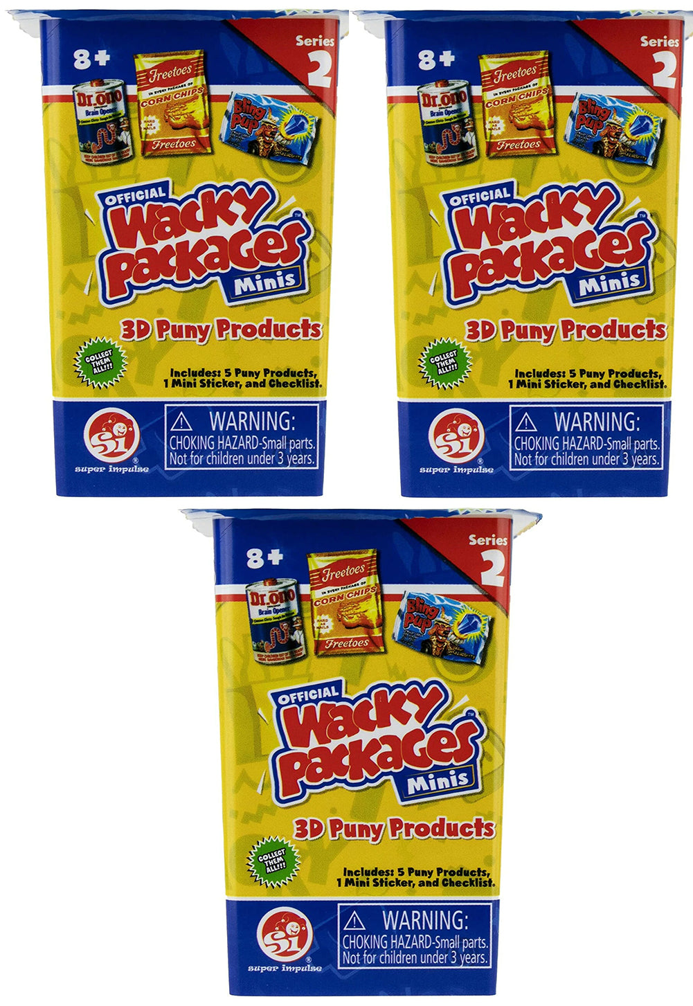 World's Smallest Wacky Packages Minis Series 2 Mystery Pack (Bundle of 3)