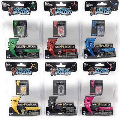 World's Smallest Power Rangers Bundle Set of 6 Mini Figures Green - Yellow - Red - Pink -Blue - Black