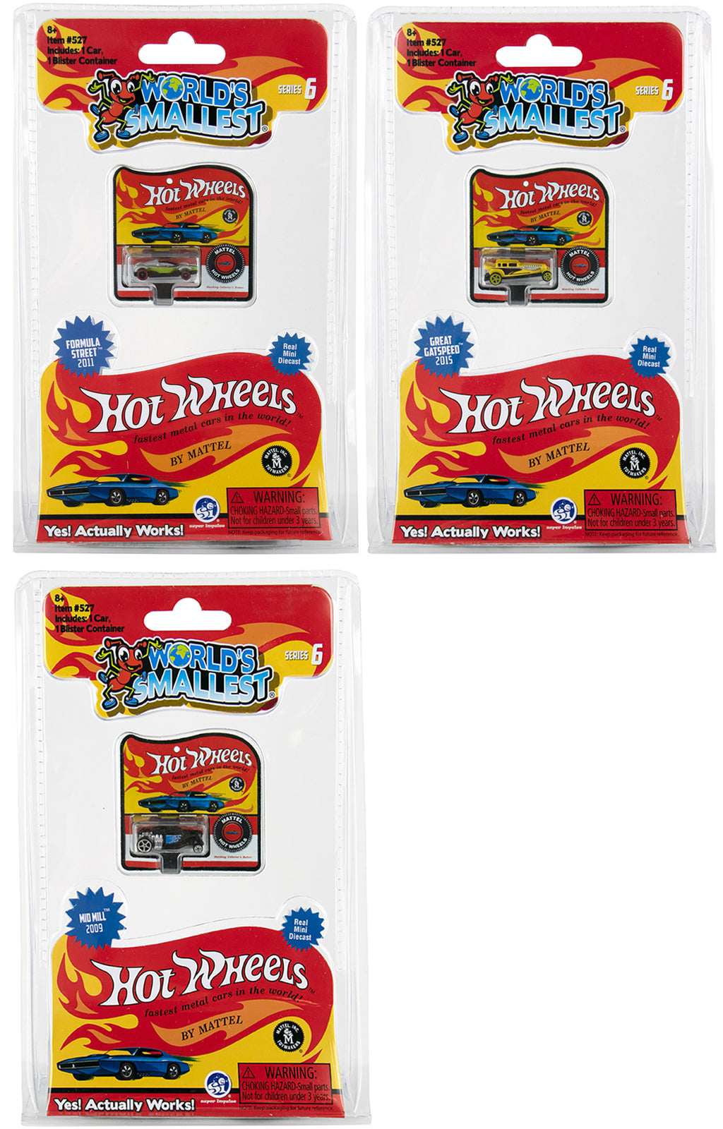 World's Smallest Hot Wheels - Series 6 - (Bundle of 3)