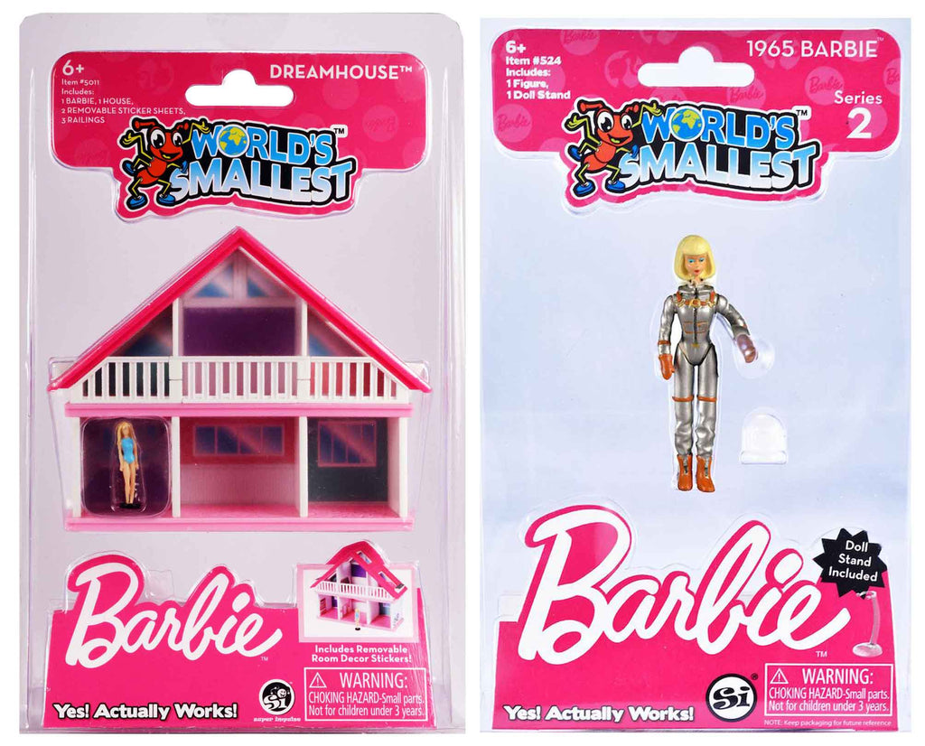 World's Smallest Barbie Dreamhouse - Blue Dress plus 1965 Barbie