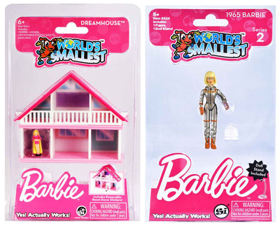World's Smallest Barbie Dreamhouse - Pink Dress plus 1965 Barbie