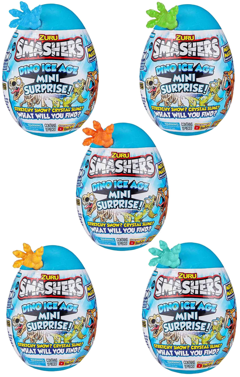 Smashers Dino Ice Age Mini Surprise Egg by ZURU Full set of 6
