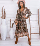 LILLIAN TUNIC DRESS, MAUI BROWN- TANAH FOLK