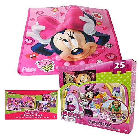 Disney Junior Minnie Mouse 25 piece Foam Puzzle bundled with 4 puzzle pack 6 piece jigsaw puzzle set along with a Minnie Mouse Bag - GBundle