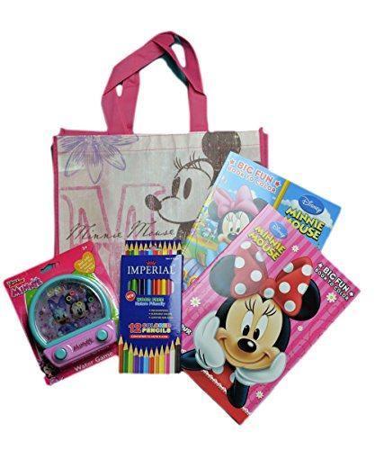 Disney Minnie Mouse Coloring Book With Water Pin Ball Game Color Pencil Minnie Mouse Bag set - GBundle