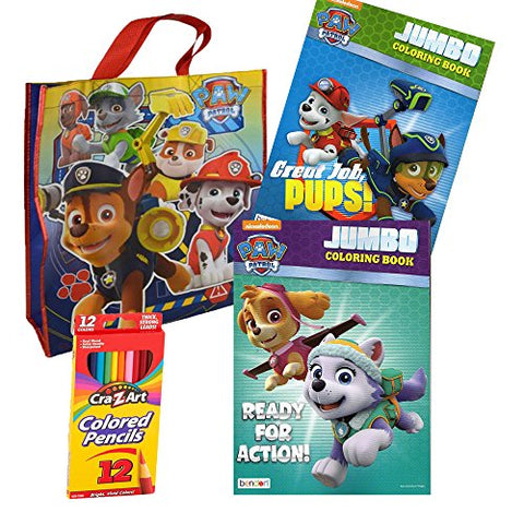 Nickelodeon Paw Patrol Coloring Book Bundled With Color Pencils, Paw Patrol Tote Bag Set - GBundle