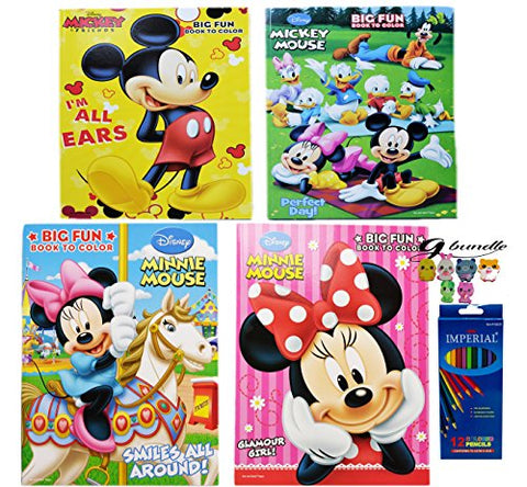 Disney Mickey Mouse and Minnie Mouse Coloring Book With Color Pencil and a G bundle Assorted Friends Eraser - GBundle