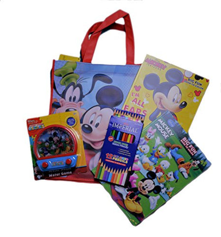 Disney Mickey Mouse Coloring Book With Water Pin Ball Game Color Pencil Mickey Mouse Tote Bag Set - GBundle
