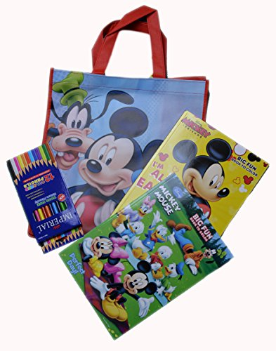Disney Mickey Mouse Coloring Book With Color Pencil Mickey Mouse Tote Bag Set - GBundle