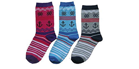 Everbright Womens Anchor Nautical Socks Novelty Crew Socks with G Bundle Charmie Hair Tie - GBundle