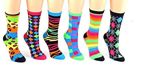 Eros Socks Women's Novelty Crew Socks with G Bundle Charmie Hair Ties (6 Pack, LeoPldCk) - GBundle